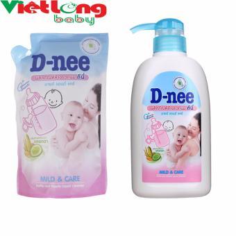 Bộ 1 chai nước rửa bình sữa D-nee 500ml + 1 túi nước rửa bình sữa D-nee x 400ml