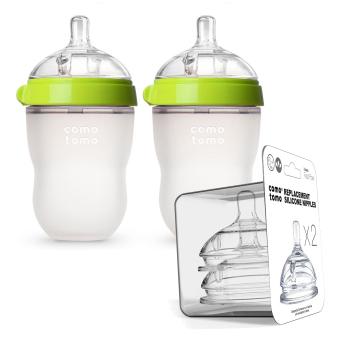 Bộ 2 bình sữa Comotomo 250ml Xanh và 2 núm ty thay thế dòng chảy nhanh (6m+)
