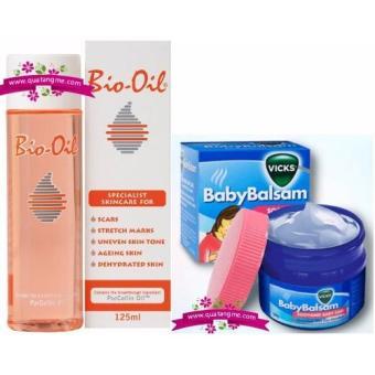 Dầu Bôi Ấm Ngực Giảm Ho Cho Trẻ Baby Balsam Vicks 50g + Tinh Dầu Chống Rạn Da Mờ Sẹo Cho Mẹ Bio-Oil 125 ml