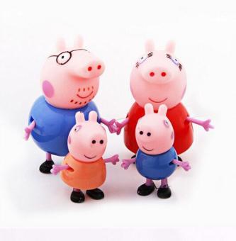 Fancyqube 4Pcs Pepe Pig Plastic Toys Color Random