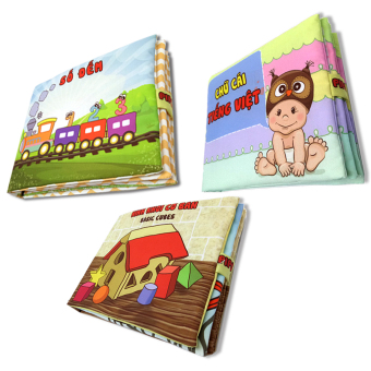 Bộ 3 sách vải cho bé chơi mà học Pipo - Số đếm chữ cái và hình khối