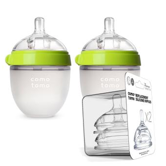 Bộ 2 bình sữa Comotomo 150ml Xanh và 2 núm ty thay thế Y cut dòng theo lượng bé bú