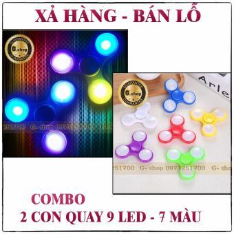 COMBO 2 : Con quay SPINER 3 cánh - 9 đèn LED 7 màu : Vòng bi inox