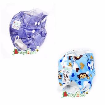 Combo 2 Bộ tã ngày BabyCute size S (3-9kg) Jean, Khỉ xanh