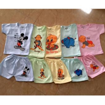 Sét 5 bộ quần áo cộc tay nhiều màu dễ thương cho bé
