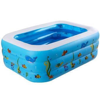 Bể bơi phao 3 tầng cho bé 130x92x52cm GocgiadinhVN (xanh dương)