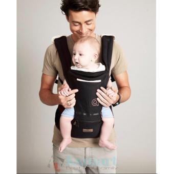 Địu ngồi Aiebao Baby carier có mũ che ngăn chứa đồ cho bé ( Black)