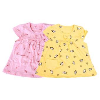 Bộ 2 áo chữ A tay ngắn bé gái Lullaby Màu - 4Y