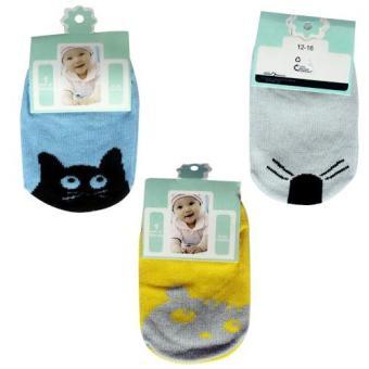 Bộ 3 đôi Tất Kiddy Socks cho bé 0 - 24 tháng tuổi (Vàng)
