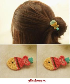 Bộ 2 kẹp tóc handmade bằng len cho bé gái hình con cá KTEAH26-sl2