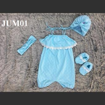 Bộ Jumsuit bi xanh pastel JUM01_X MIHABABY + Tặng kèm băng đô cho bé
