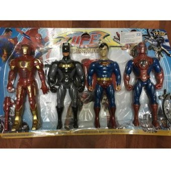 Bộ 4 siêu anh hùng: Người sắt (Ironman), Người dơi (Batman), Siêu nhân (Superman), Người nhện (Spiderman) (loại to)