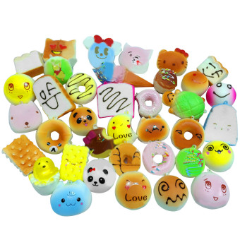 30 Pcs Kawaii Mini Squishy Soft Simulated Food Panda Bread Cake Buns Pendants Key Rings Keychains Phone Chain Straps Ornaments Accessories Random Style - intl