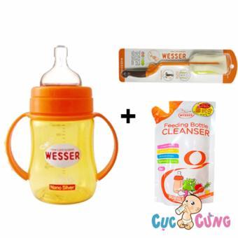 Combo bình sữa wesser cổ rộng 180ml + cọ rửa wesser + nước rữa wesser 500ml