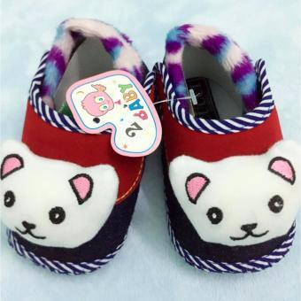 Giày đế bệt hình gấu - Baby Panda (Đỏ)