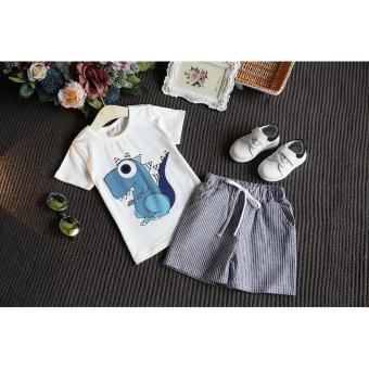 Bộ quần áo cộc tay hình khủng long ngộ nghĩnh đáng yêu cho bé từ 2 tới 5 tuổi ( màu trắng )