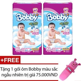 Bộ 2 tã giấy Bobby Fresh Siêu Mỏng XL38 + Tặng 1 gối ôm Bobby