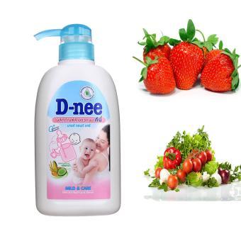 Chai nước rửa bình sữa và rau củ quả cho bé D-nee 500ml (White)