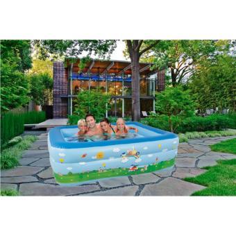 Bể bơi phao 3 tầng cho bé size to 180x140x60cm - Mẫu mới 2017 (Xanh dương)