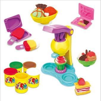 Bộ bột nặn cho các bé chơi trò bán kem, bánh với khuôn nặn và máy ép kem