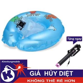 Phao tập bơi có đai chống lật bảo vệ an toàn mẫu mới (xanh) + Gậy chụp ảnh