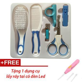Bộ Kit chăm sóc móng tay cho bé (Xanh) + Tặng dụng cụ lấy ráy tai có đèn(Xanh dương nhạt)