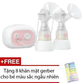 Máy hút sữa điện đôi Unimom Forte # có mát xa silicone (Trắng) + Tặng 8 khăn mặt gerber cho bé màu sắc ngẫu nhiên