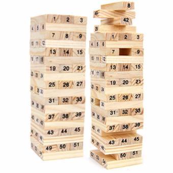 Bộ 02 đồ chơi rút gỗ Wiss Toy 54 thanh kèm 4 con súc sắc cho bé (Nâu)