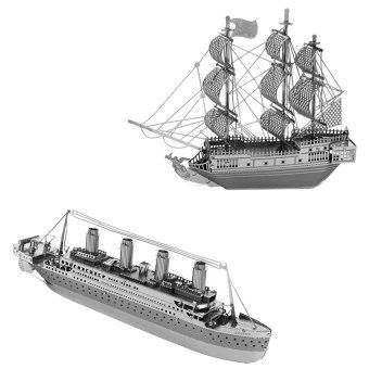 Bộ 1 bộ xếp hình 3D tàu titanic + 1 bộ xếp hình tàu cướp biển