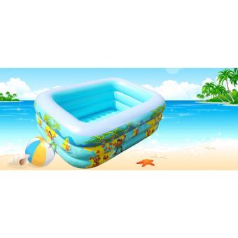 Chậu phao tắm cho bé - Bể bơi phao 3 tầng chữ nhật 130X90X50 - Chất liệu cao cấp, Bền, Đẹp - TẶNG BƠM BỂ BƠI.