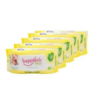 Bộ 5 gói khăn ướt mùi hương lô hội 80 tờ Happykids Nano (Vàng)
