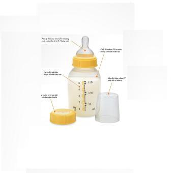 Bình sữa Medela 150ml (vàng ) + chụp núm ti size S - Nhập Khẩu