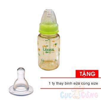 Bình sữa UPASS cổ thường 120ml PES - Xanh lá Tặng 1 ty cùng size