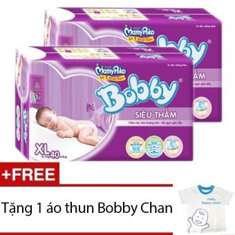 Bộ 2 gói Tã Giấy Bobby Fresh Siêu Thấm XL40 - Tặng 1 áo thun