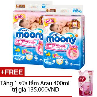Bộ 2 gói tã giấy Moony Newborn 90 + Tặng 1 sữa tắm Arau 400ml