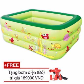 Bể bơi cao cấp 3 tầng cho bé loại 160cmx125cmx55cm + Tặng bơm điện (Xanh)