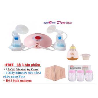 Máy hút sữa điện đôi Spectra Dew-350 + Tặng Combo 3 sản phẩm 700k ( Áo vắt sữa rảnh tay + Bộ 3 bình Unimom + máy hâm sữa Fatz)