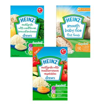 Bộ bột ăn dặm vị gạo + bột ăn dặm vị ngũ cốc + bột ăn dặm vị rau củ Địa Trung Hải Heinz