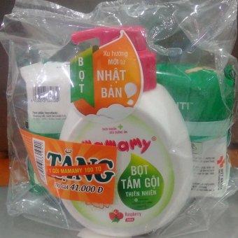 Sữa tắm gội chung tạo bọt Mamamy 400ml hương Floral +Tặng kèm 1 gói khăn ướt không mùi Mamamy 100 tờ)