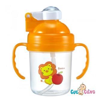 Bình tập uống Simba nắp bật có ống hút có tay cầm 180ml