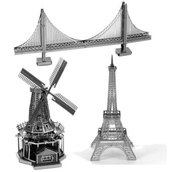 Bộ 3 xếp hình 3D kim loại Cối xay gió Hà Lan + Tháp EIFEN + Cầu SUNDIAL