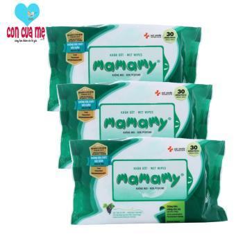 Bộ 3 gói giấy ướt du lịch Mamamy (30 tờ x 3)