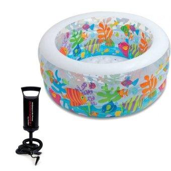 Bộ bể bơi phao tròn đại dương Intex 58480 và Bơm tay bơm bể bơi phao bơi 68612