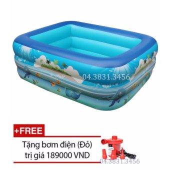 Bể bơi phao 3 tầng cho bé loại 130cmx85cmx55cm + Tặng bơm điện (Xanh)