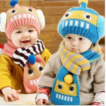 Mũ và khăn len ấm áp cho bé yêu hình robot