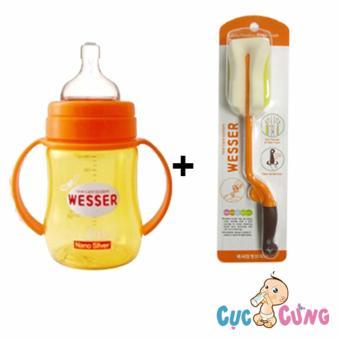 Combo bình sữa wesser cổ rộng 180ml + cọ rửa wesser