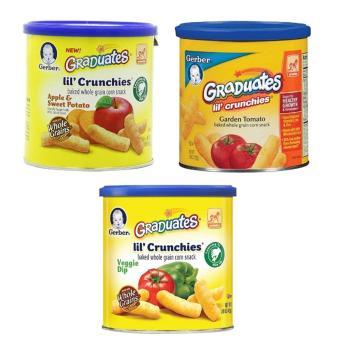 Bộ 3 Bánh Ăn Dặm Gerber Graduates Lil' Crunchies Vị Táo, Khoai Lang, Cà Chua, Rau Củ