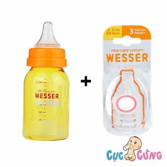 Combo bình sữa wesser nano silver 140ml + vĩ 3 ty Wesser cùng size