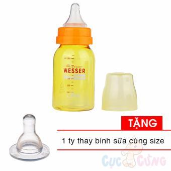 Combo Bình sữa Wesser Nano Silver cổ thường 140ml Tặng 1 ty cùng size