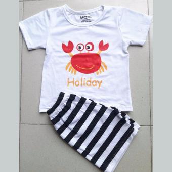 Quần áo trẻ em Bộ trắng in hình cua đáng yêu cho bé
